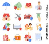 insurance icons set with house... | Shutterstock . vector #480617062
