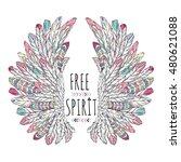 ornate wings  free spirit ... | Shutterstock .eps vector #480621088