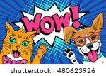 Stock vector wow pop art pets funny surprised cat and dog in glasses with open mouths rising paws up vector 480623926