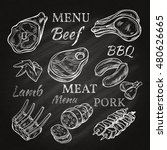 retro meat menu icons on...   Shutterstock . vector #480626665