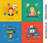 support design concept set with ... | Shutterstock . vector #480633586