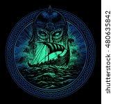 God Odin Storm Sea And Drakkar...