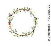 flower circle. hand drawn... | Shutterstock . vector #480650722