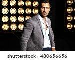 portrait of sexy handsome... | Shutterstock . vector #480656656