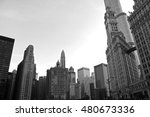 chicago buildings black and... | Shutterstock . vector #480673336