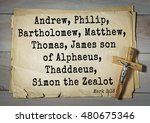 Small photo of TOP-350. Bible verses from Mark. Andrew, Philip, Bartholomew, Matthew, Thomas, James son of Alphaeus, Thaddaeus, Simon the Zealot