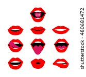 woman red lips set. mouth with... | Shutterstock .eps vector #480681472