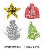 christmas vintage silhouettes... | Shutterstock .eps vector #480691246