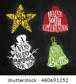 Christmas vintage silhouettes star, snowman, bell, winter hat with greeting lettering star of wonder star of night, holly jolly celebration, drawing with color chalk on chalkboard