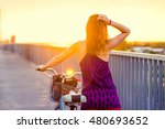 happy young woman riding... | Shutterstock . vector #480693652