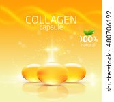 collagen capsule | Shutterstock .eps vector #480706192