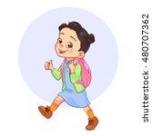 cartoon brunette girl with a... | Shutterstock .eps vector #480707362