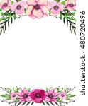 watercolor floral frame with... | Shutterstock . vector #480720496