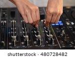 dj hands on equipment deck and... | Shutterstock . vector #480728482
