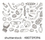 food. sausages set. hand drawn... | Shutterstock .eps vector #480739396