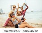 young beautiful girls making a... | Shutterstock . vector #480760942
