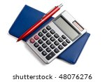 Small photo of pen,calculator and checkbook isolated on white background.
