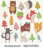 vector set of forest animals... | Shutterstock .eps vector #480765382