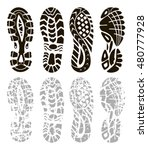 footprint sport shoes | Shutterstock .eps vector #480777928