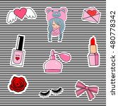 fashion patch badges with lips  ...   Shutterstock .eps vector #480778342