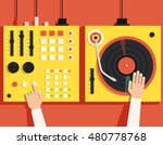 turntable with dj hands. vector ... | Shutterstock .eps vector #480778768