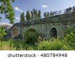 Medieval one hundred meter long stone Kadin bridge build  over  the river Struma, Nevestino village, Bulgaria