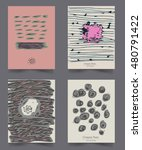 set of vintage creative cards