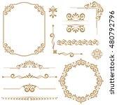 vintage vector set. floral... | Shutterstock .eps vector #480792796