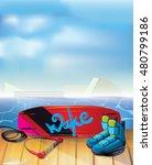 wakeboarding park. summer water ... | Shutterstock .eps vector #480799186