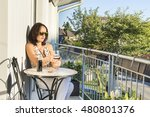 young cute woman sitting on a... | Shutterstock . vector #480801376