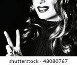 Pretty smiling woman - stock photo