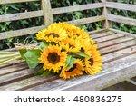 Sunflower Bouquet On Wooden...