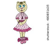 beautiful cute bear girl.... | Shutterstock .eps vector #480851635