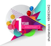 1 year anniversary logo with... | Shutterstock .eps vector #480852442