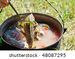 kettle with fish soup made with ... | Shutterstock . vector #48087295