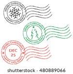 set of postal stamps ''merry... | Shutterstock .eps vector #480889066
