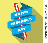 happy teacher's day design... | Shutterstock .eps vector #480893758