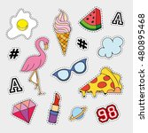 fashion patch badges with... | Shutterstock .eps vector #480895468