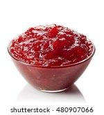 bowl of strawberry jam isolated ... | Shutterstock . vector #480907066