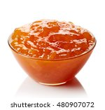 bowl of apricot jam isolated on ... | Shutterstock . vector #480907072