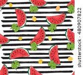 water melon seamless pattern... | Shutterstock . vector #480907822