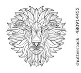 detailed lion in aztec style.... | Shutterstock .eps vector #480914452