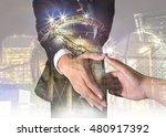 double exposure of businessman... | Shutterstock . vector #480917392