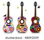 flower power guitars | Shutterstock .eps vector #48092059