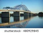 blue  bridge over Columbia river  in Tri-Cities Washington