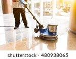 people polishes floor indoors | Shutterstock . vector #480938065