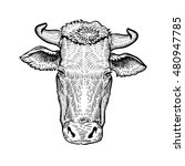 cows head  in a graphic style... | Shutterstock .eps vector #480947785