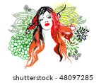 woman and flower | Shutterstock .eps vector #48097285