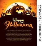 spooky halloween night with... | Shutterstock .eps vector #480993622