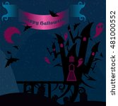 blue and pink halloween castle... | Shutterstock .eps vector #481000552